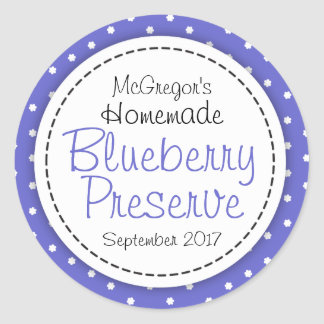 Round blueberry preserve or jam jar food label
