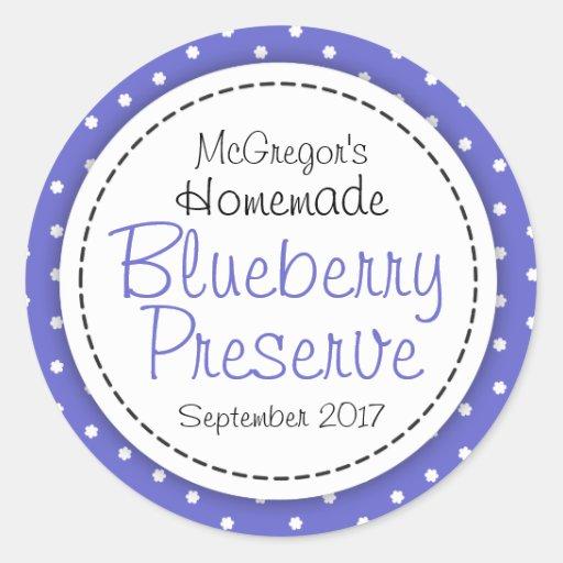 Round blueberry preserve or jam jar food label stickers