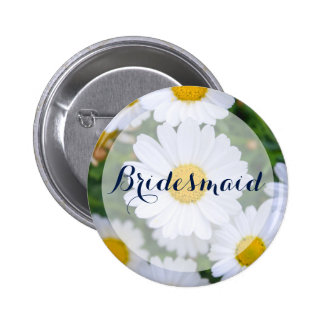 Round Bridesmaid Floral Wedding Buttons Daisy