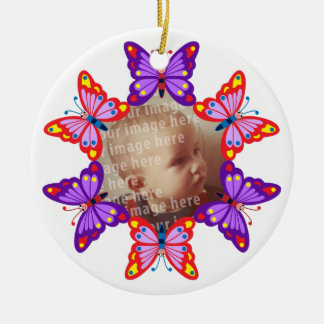 Round Butterfly Photo Frame Round Ceramic Decoration