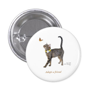 Round Button Featuring Tabatha, the Tabby