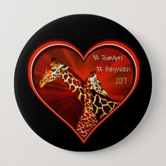 Round Button Pin Giraffe April Mom and baby