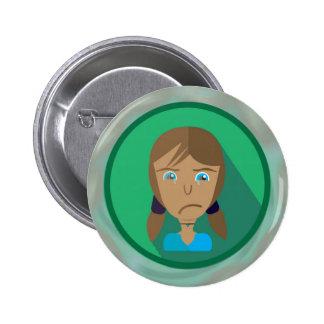 Round Button SAD GIRL CARTOON
