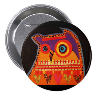 Round Button with Bright Hoot Owl 3 Inch Round Button