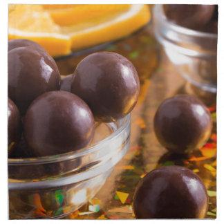 Round candy chocolate close-up napkin