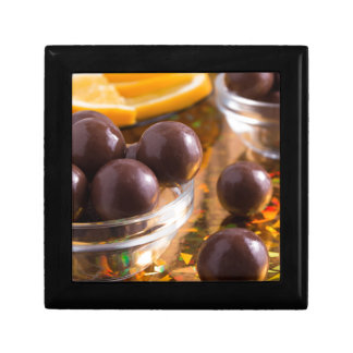 Round candy chocolate close-up small square gift box