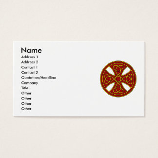 Round Celtic Cross in red and gold Business Card