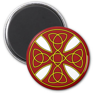 Round Celtic Cross in red and gold Refrigerator Magnet