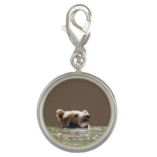 Round Charm, Silver Plated w/ grizzly bear cub