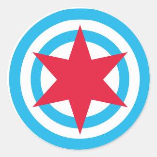 Round Chicago Flag Classic Round Sticker