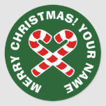 Round Christmas stickers with candy cane heart