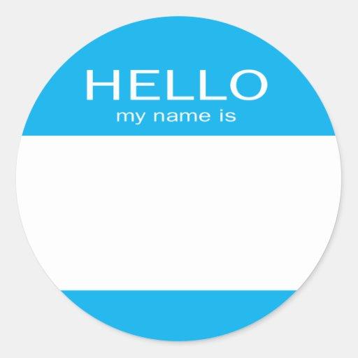 Round Circle Hello My Name Is Sticker
