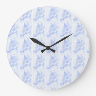 Round clock of wall horse drawing