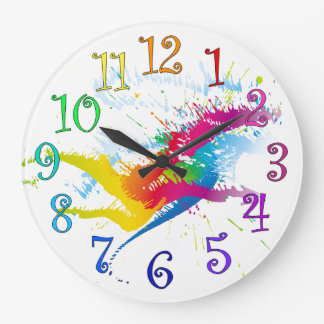 Round clock splashes of paint and colorful numbers
