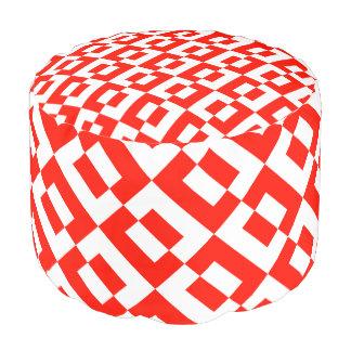 Round Comforter, Vibrant Design in Red&White Round Pouffe