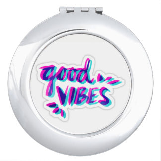 Round compact Mirror good vibes