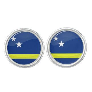 Round Curacao flag Cufflinks