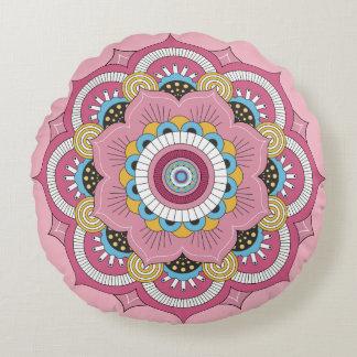 Round cushion Mandala Rosa Flower