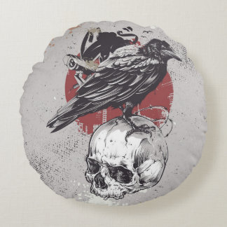 Round cushion Skull and Crow