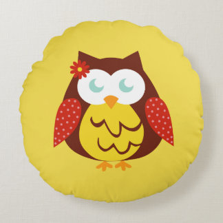 Round cushion Yellow Owl