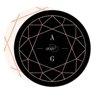Round Diamond Gemstone Geometric Wedding Invite