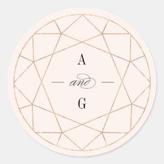 Round Diamond Geometric Monogram Wedding Sticker