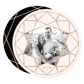 Round Diamond Geometric Save The Date Photo Card 13 Cm X 13 Cm Square Invitation Card