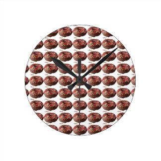 Round Donut Wall Clock Chocolate Sprinkles