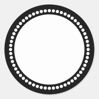 Round Dot Frame Template in Black Classic Round Sticker