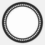 Round Dot Frame Template in Black Round Sticker