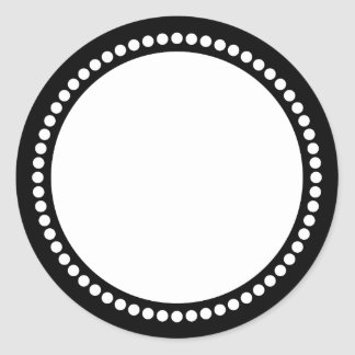 Round Dot Frame Template in Black Round Sticker