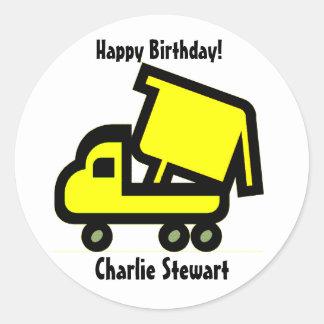 Round Dump Truck Birthday Gift Tag Label Round Sticker
