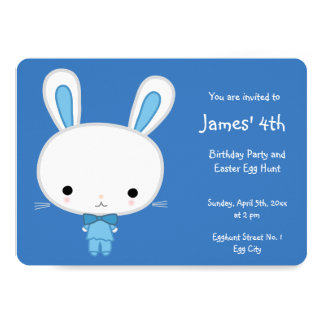 Round Easter Birthday Invitations Cute Blue Bunny
