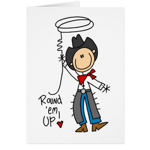 Round 'Em Up! Cowboy Stick Figure Card