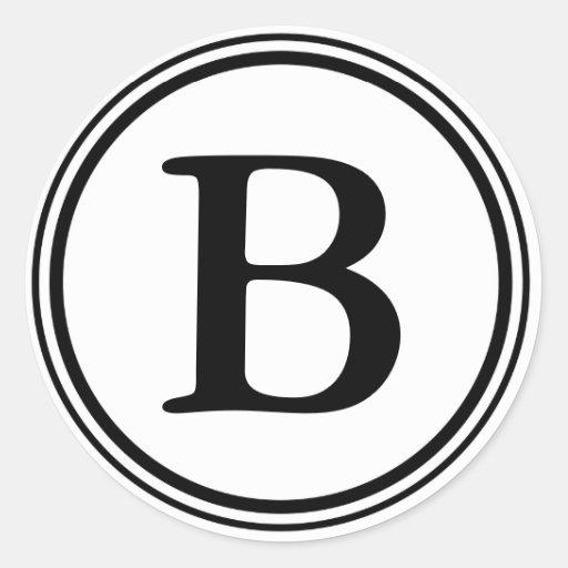 Round Envelope Seals with Monogram - Black & White Round Sticker