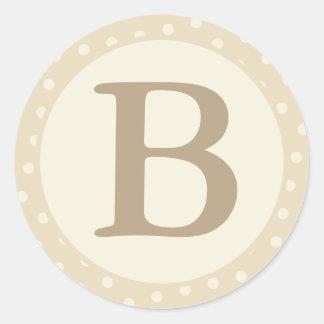 Round Envelope Seals with Monogram - Cream & Ecru