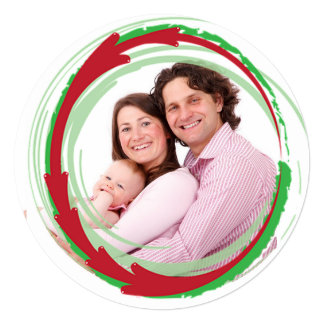 Round Family Photo Red & Green Christmas Card