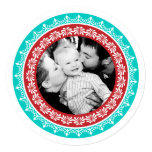 Round Festive Holiday Photo Cards Personalised Announcements