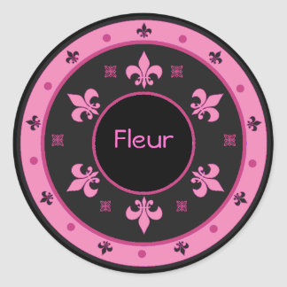 Round Fleur de Lis Stickers with Customizable Text
