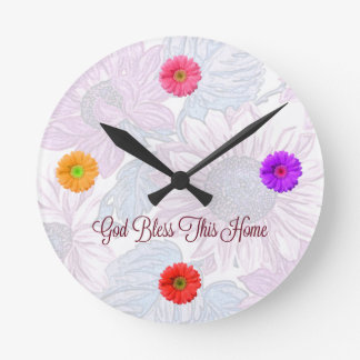 """Round Floral Clock with """"God Bless This Home"""" Text"""