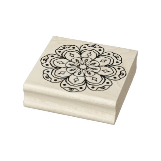 Round Floral Embellishment Rubber Art Stamp