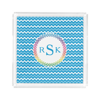 Round Floral Ornament with Initals on Chevron