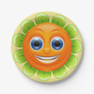 Round Flower Smiley Face Personalized Paper Plate