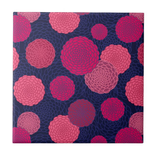 Round flowers pattern small square tile