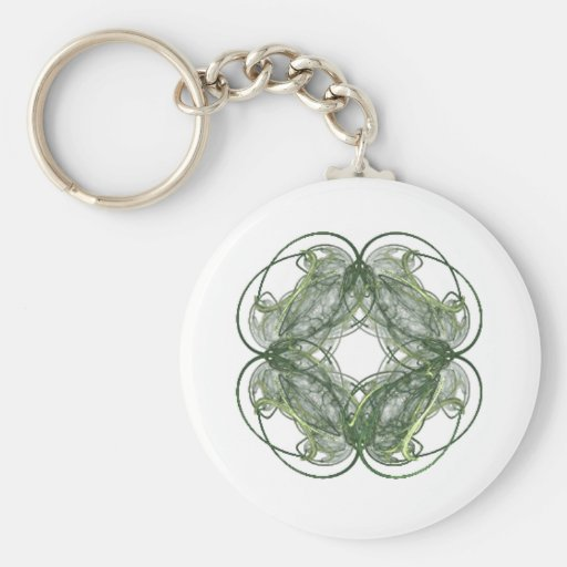 Round Four Leaf Clover Fractal Art Key Chains