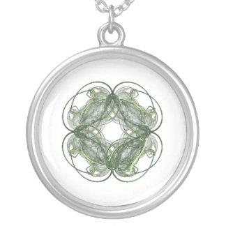 Round Four Leaf Clover Fractal Art Necklaces