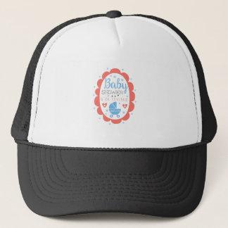Round Frame Baby Shower Invitation Design Template Trucker Hat