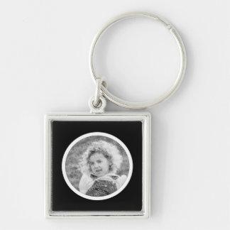 Round Frame Black & White Custom Photo Keyring