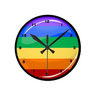 Round Gay Lgtb Pride Rainbow Flag Round Clock