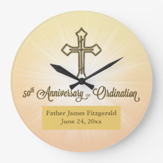 ROUND Gift, Custom Name Date,50th Ordination Anniv Large Clock